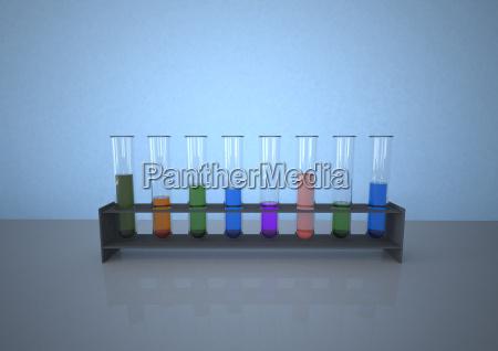 tubos de ensayo coloridos en rack