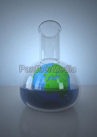planeta tierra en matraz de laboratorio
