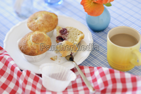 cherry muffins on plate
