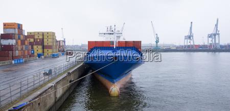 germany hamburg blue container ship docked