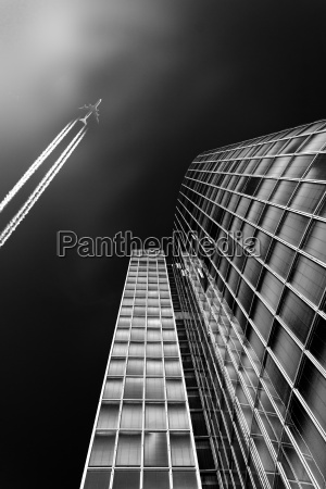 germany duesseldorf office tower and flying