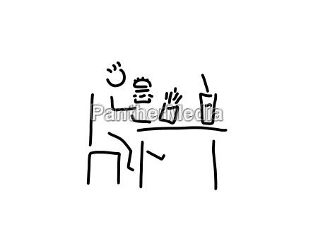 comida rapida ninyo sentado en la