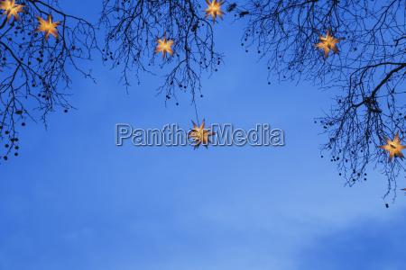 estrellas de navidad iluminadas colgando en