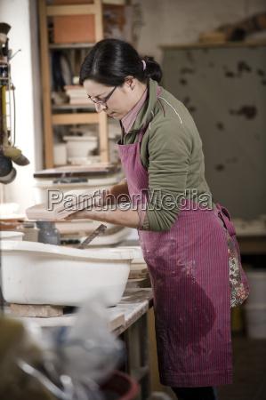 germany bavaria mid adult woman staining