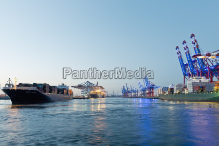 germany hamburg container ship towed into