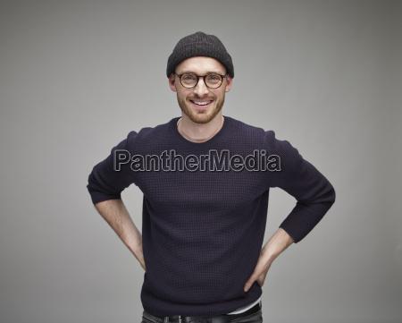 portrait of man wearing wool cap