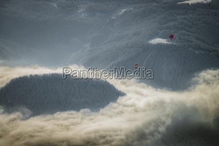 austria salzkammergut hot air ballons over