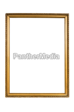 decorative golden picture frame isolated on