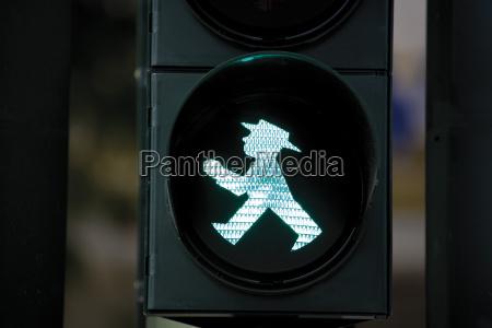 germany berlin pedestrian light signalling green