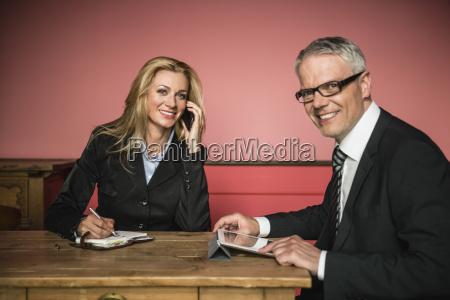 germany stuttgart businessman with digital tablet