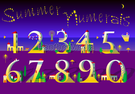 summer numbers yellow houses on the
