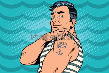 marinero con lorem ipsum tatuaje en