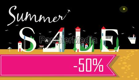 summer sale fifty percents artistic font