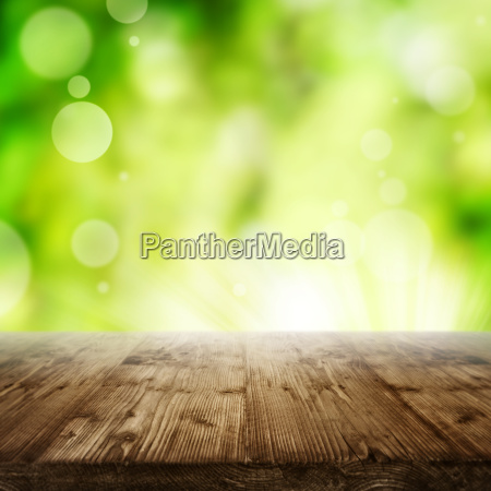 abstract green spring background with wooden