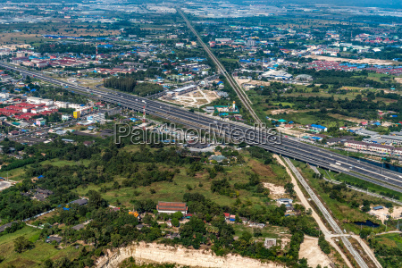 aerial photo land development and residential