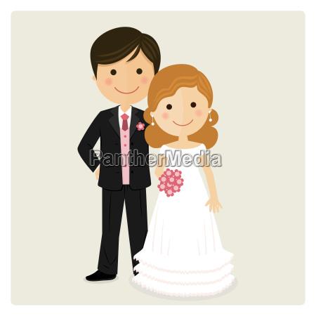 ilustracion de feliz recien casado en