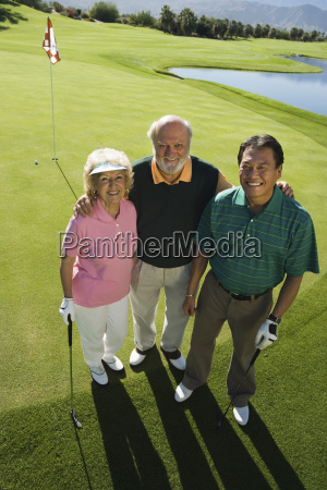 three friends at golf course