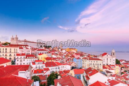 alfama at scenic sunset lisbon portugal