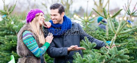 mujer y hombre comprando arbol de