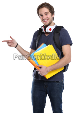 student young man showing advertising marketing
