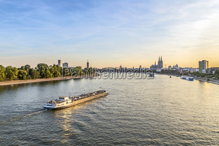 skyline of cologne with river rhine