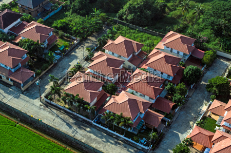residential area housing roofs view from