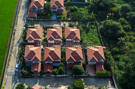 red roofs in residential area housing