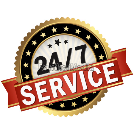 button with red banner 247 service