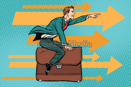 hombre de negocios volando en un