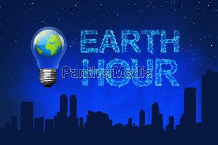 planeta azul en bombilla con mensaje