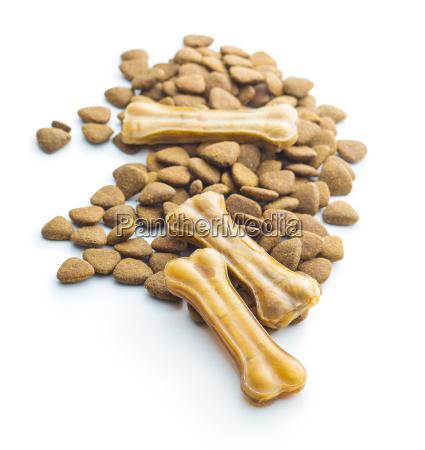 perro masticar hueso y comida seca