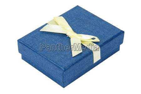 blue decorative present box with yellow