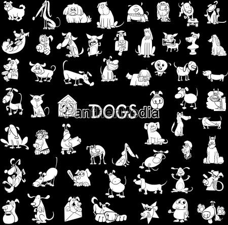 personajes de perro conjunto grande