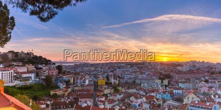 historical centre of lisbon at sunset