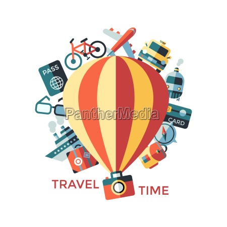 digital vector travel icons set with
