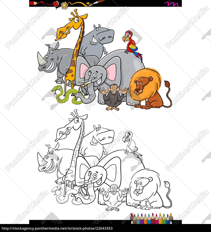 Vector Libre De Derechos 22643353 Safari Personajes Animales Libro Para Colorear