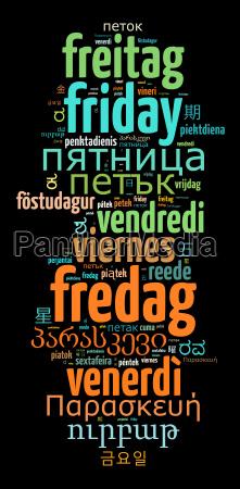 word friday en diferentes idiomas
