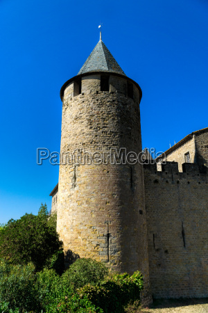 fortified tower with ramparts and the