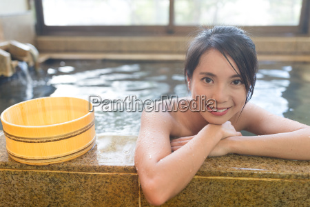 japanese woman enjoy japanese hot spring