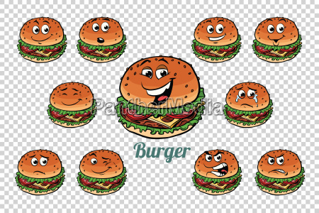 burger fast food emotions characters collection