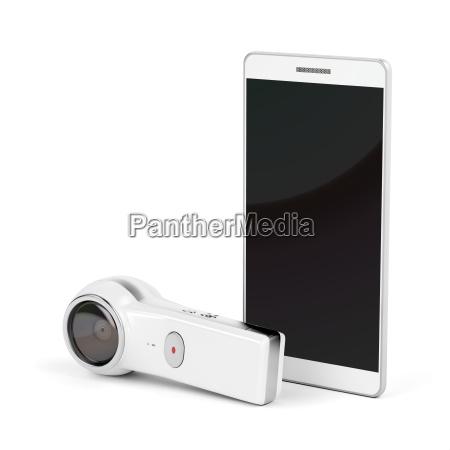 camara de 360 grados y smartphone