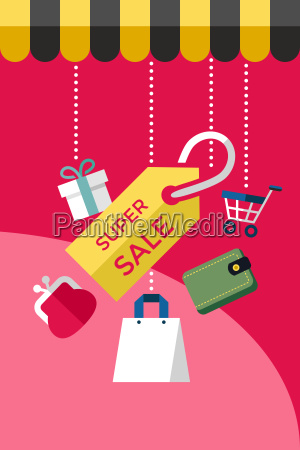 digital vector red super sale shopping
