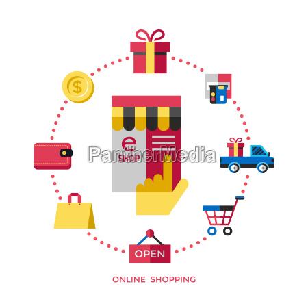 digital vector white online shopping icons