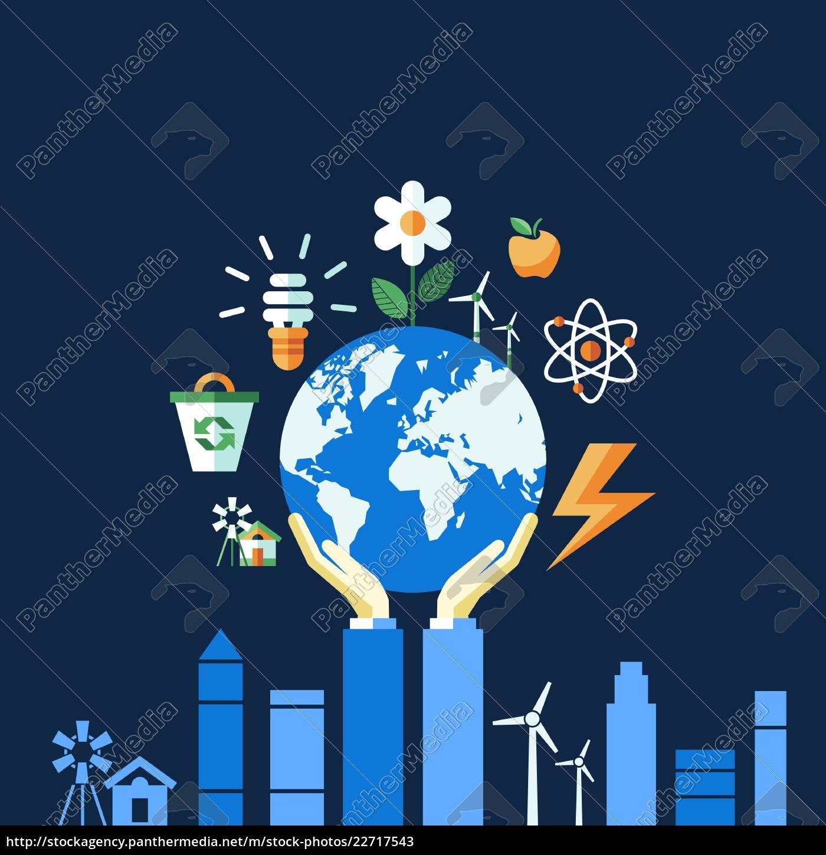 iconos, de, ecología, azul, vectorial, digital - 22717543
