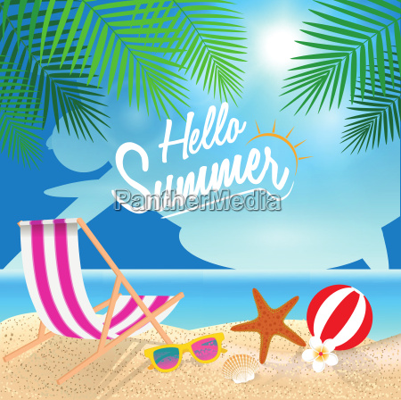 hello summer holiday background beach chair