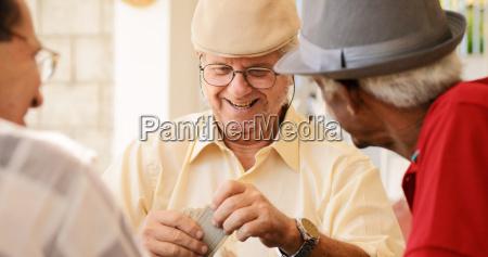 grupo de happy seniors playing cards
