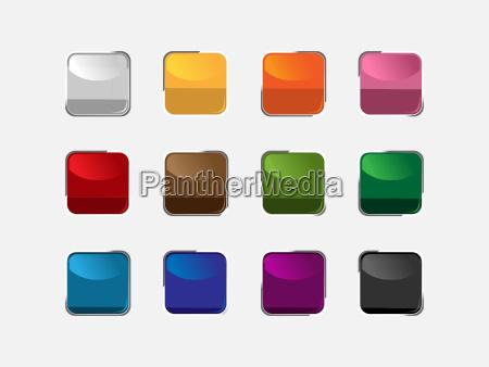 grupo de botones cuadrados de diferentes