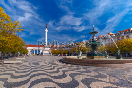 rossio square with wavy pattern lisbon