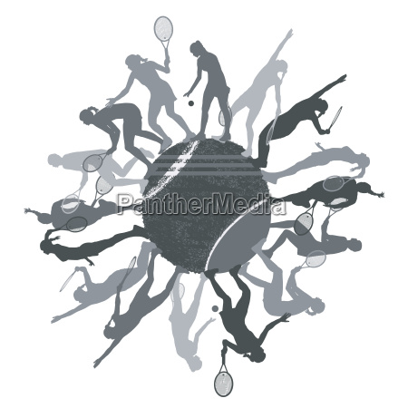 tennis concept with ball and woman