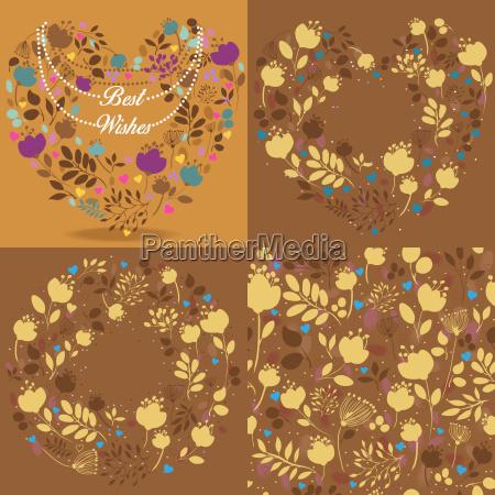 brown vintage cards with floral patterns